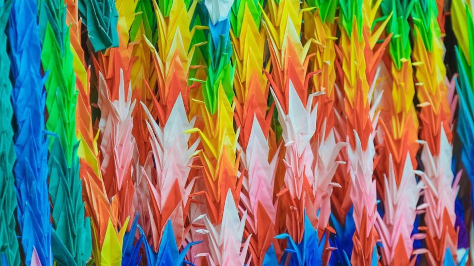 grullas de colores