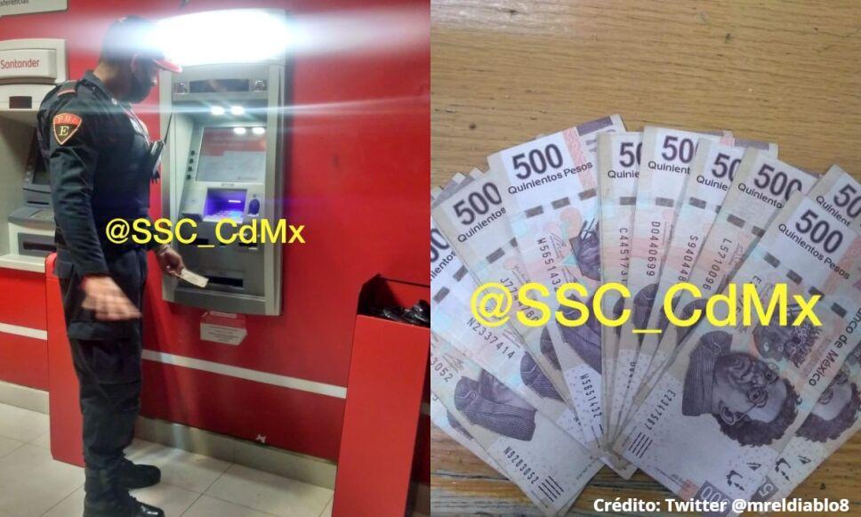 Policía devuelve dinero encontrado en la CDMX y hace buena obra
