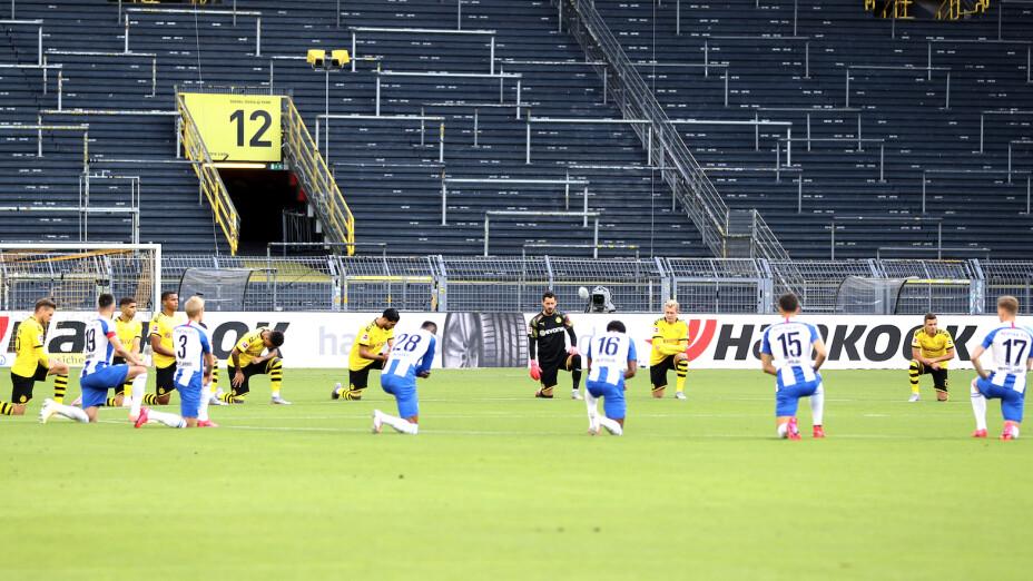 Dortmund y Hertha Berlín se manifestaron contra el racismo