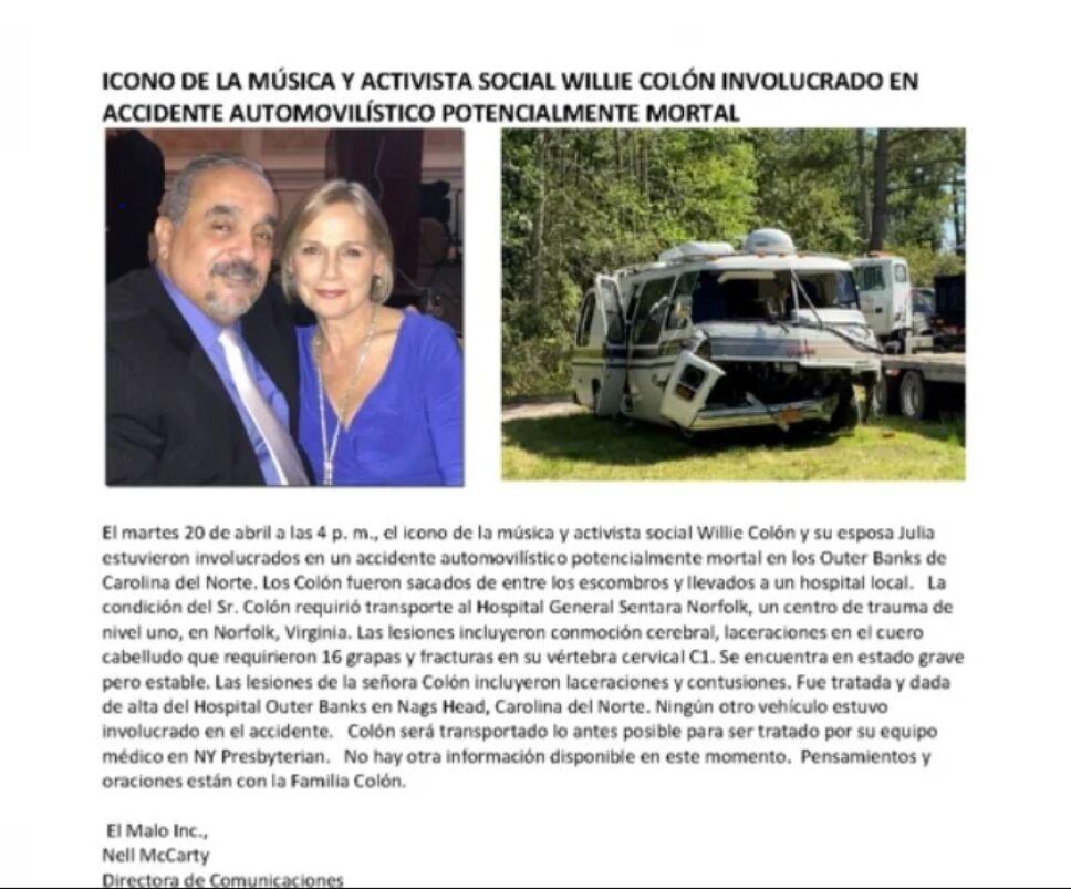 Comunicado acerca del accidente que sufrió Willie Colón y su esposa.PNG