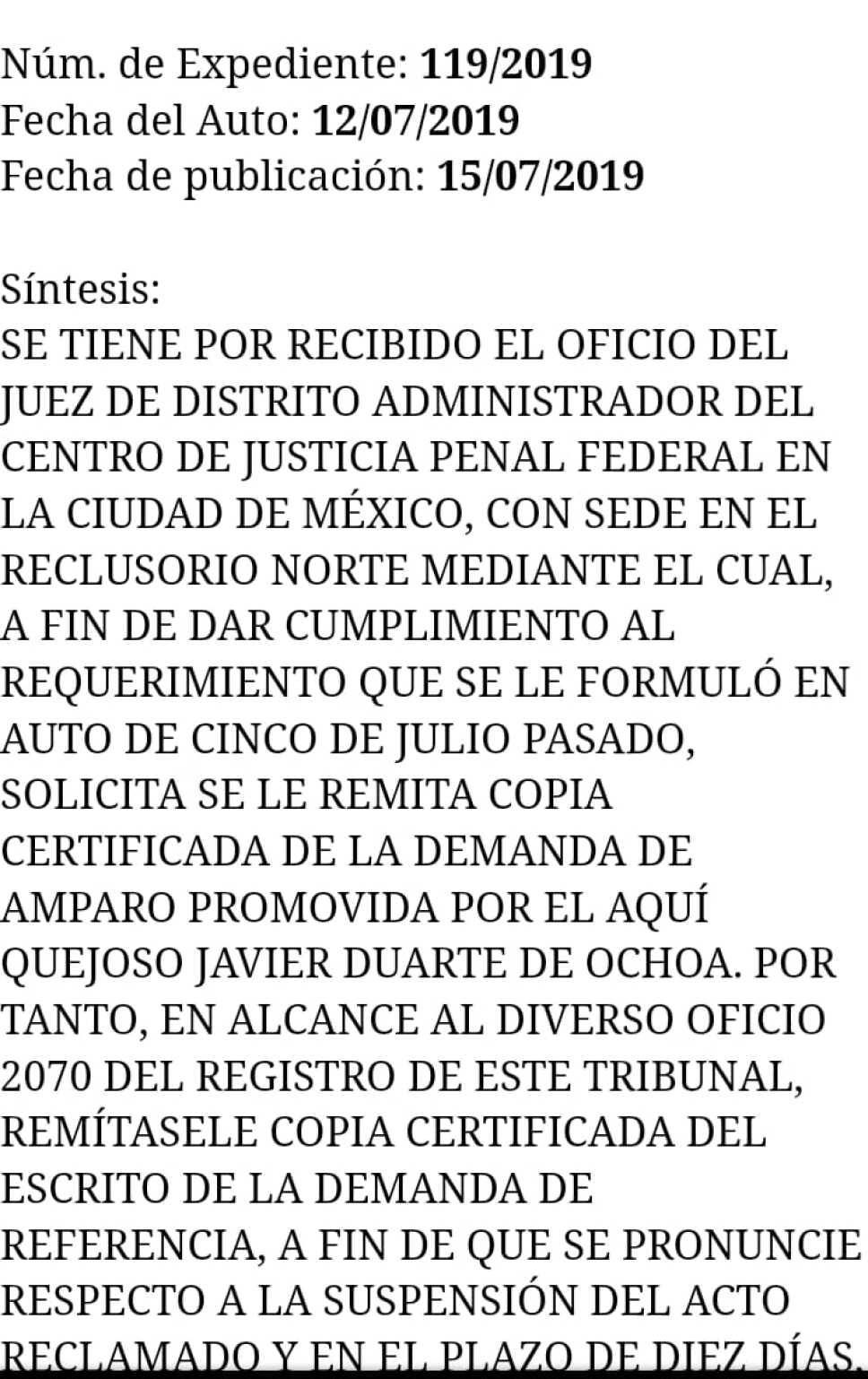 Tribunal congela sentencia multa y decomiso de Javier Duarte