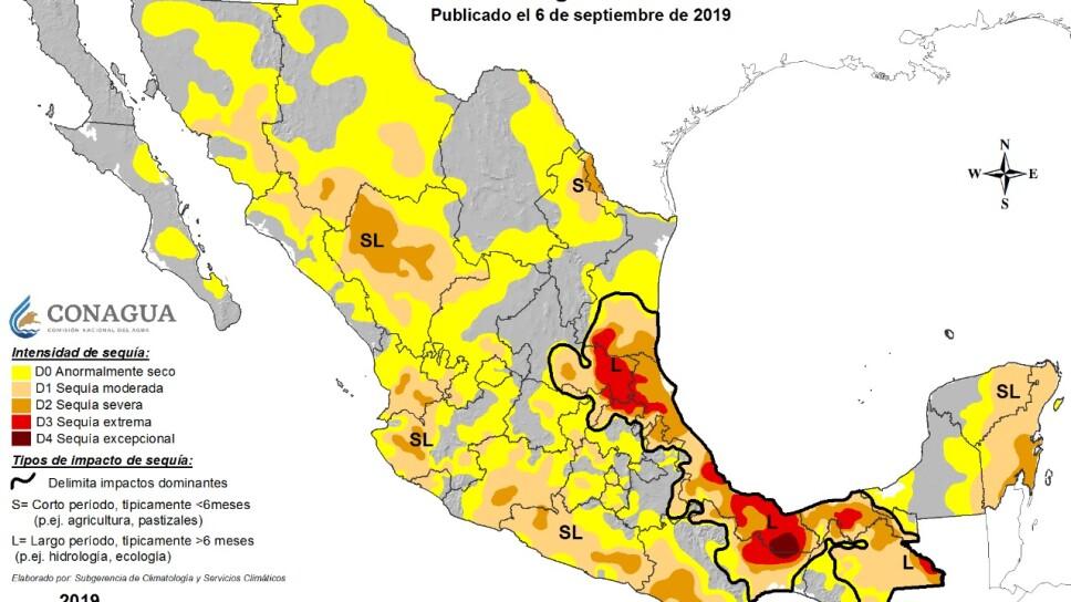 Más del 66% de nuestro territorio presenta algún grado de sequía.