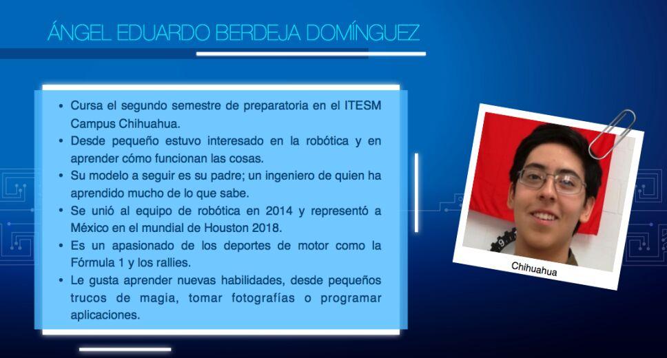 Equipo mexicano del Mundial de Robótica, Angel Berdeja