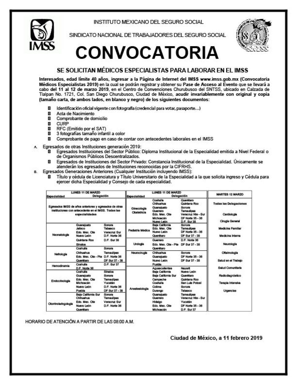 Abre IMSS convocatoria para contratar personal médico