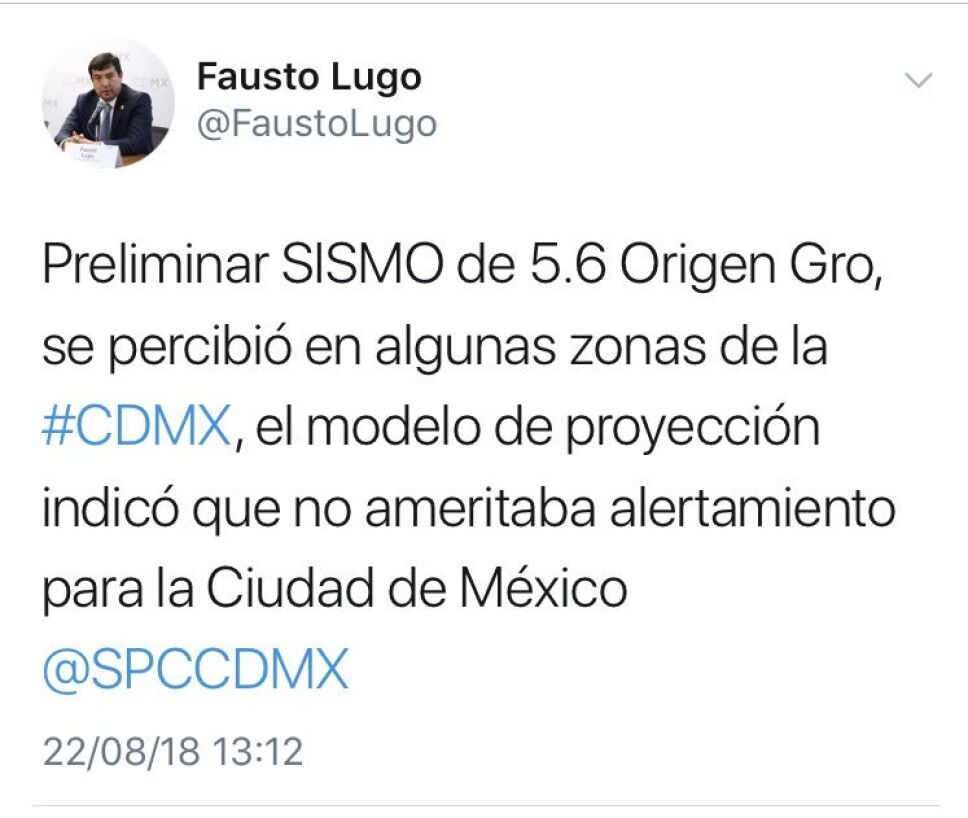 Tuit de Fausto Lugo