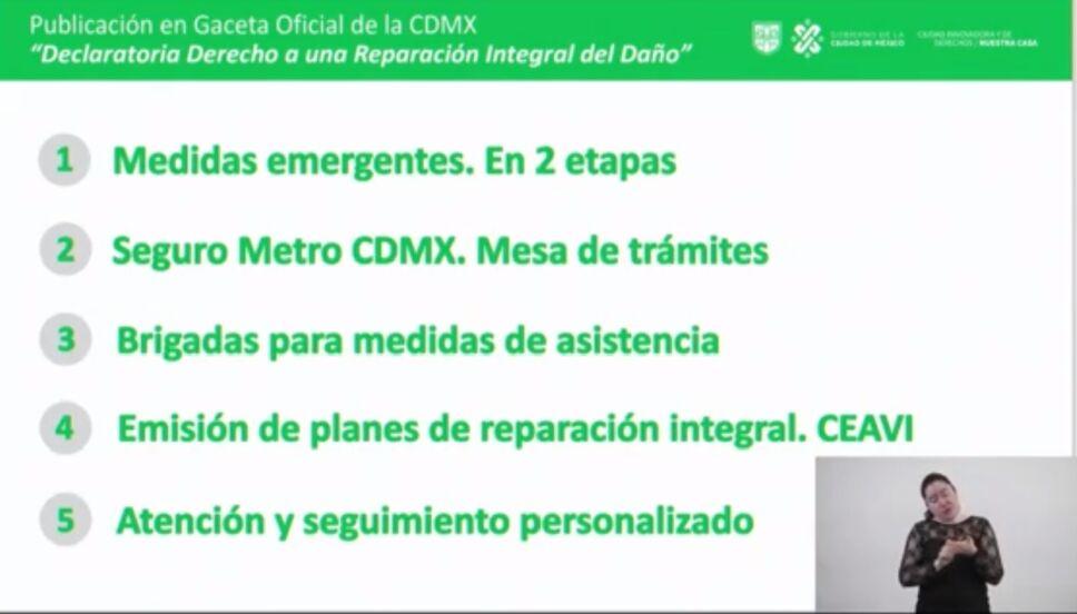 La entrega de apoyos e indemnizaciones para víctimas de la Línea 12 del Metro CDMX  se hará en cinco etapas.