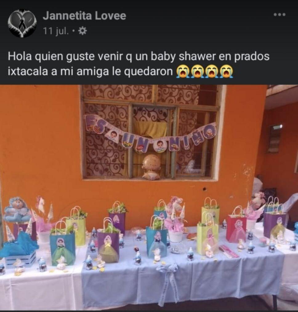 Amigas de Angélica en Atizapán no asistieron a su baby shower por lo que publicaron en Facebook.