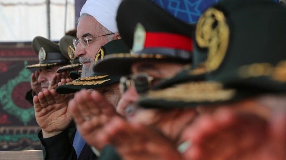 El presidente iraní Hassan Rouhani es visto durante la ceremonia del desfile del Día Nacional del Ejército en Teherán, Irán, el 22 de septiembre de 2019