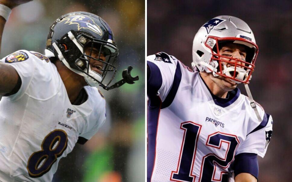 El mariscal de campo de Ravens, Lamar Jackson, y el mariscal de Patriots, Tom Brady. Imagen: AP