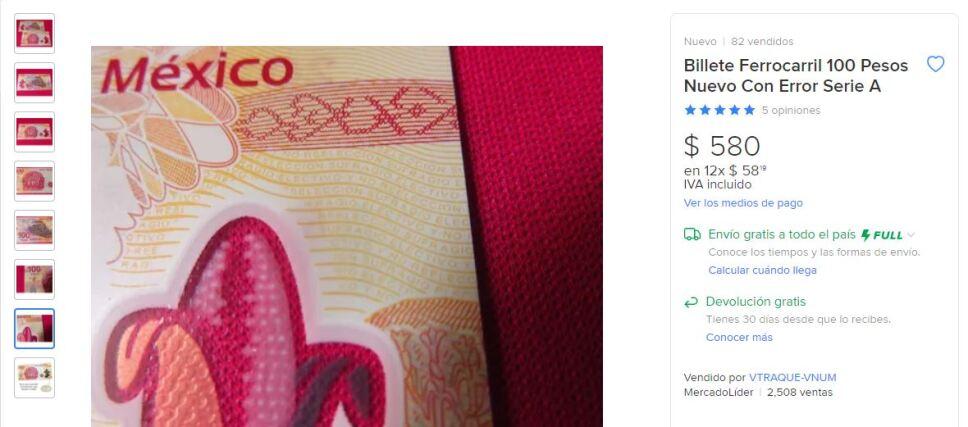Los billetes de 100 pesos emitidos en 2010 contienen un error que podría hacerlos valer hasta 500 pesos