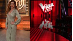 Anette Michel en MasterChef y logo de La Voz Kids