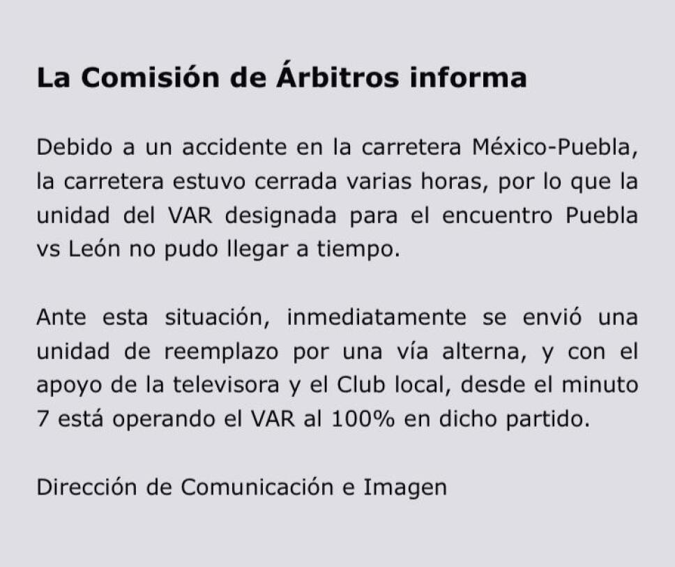 El VAR no llegó al partido Puebla vs León debido a un accidente
