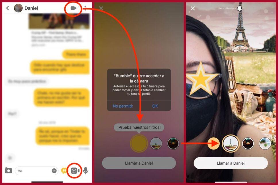 como activar los lentes de snapchat en bumble