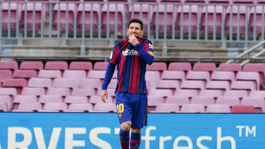 Lionel Messi con el Barcelona en el Camp Nou