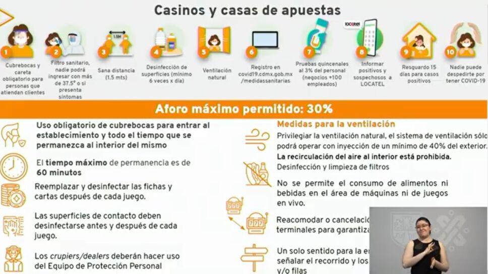 Casinos reabrirán tras pasar meses cerrados por la emergencia de COVID-19