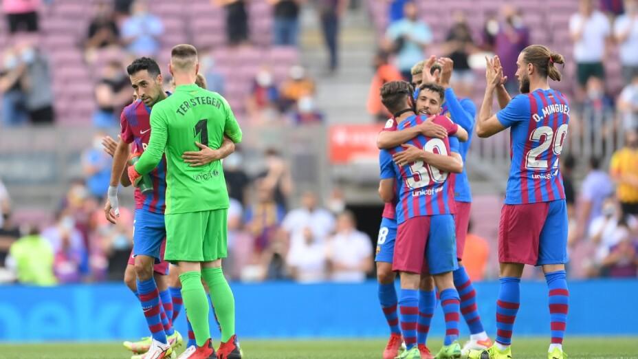 Jugadores del Barcelona celebran ante el Getafe