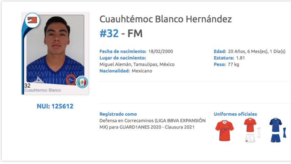 Cuauhtémoc Blanco fue registrado por el Correcaminos