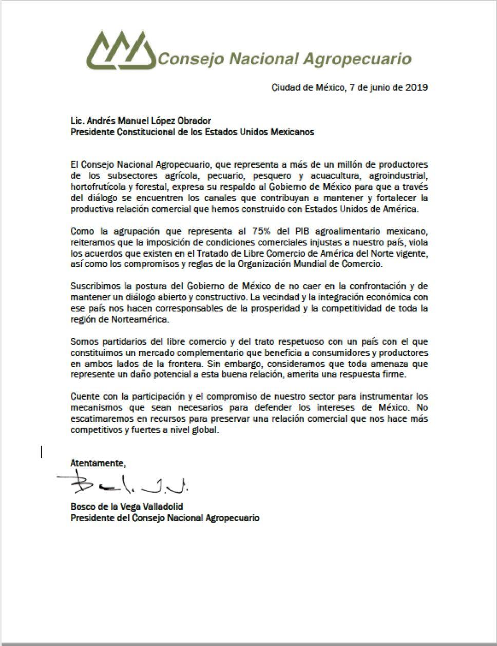 Consejo Nacional Agropecuario envía carta de apoyo a López Obrador por aranceles