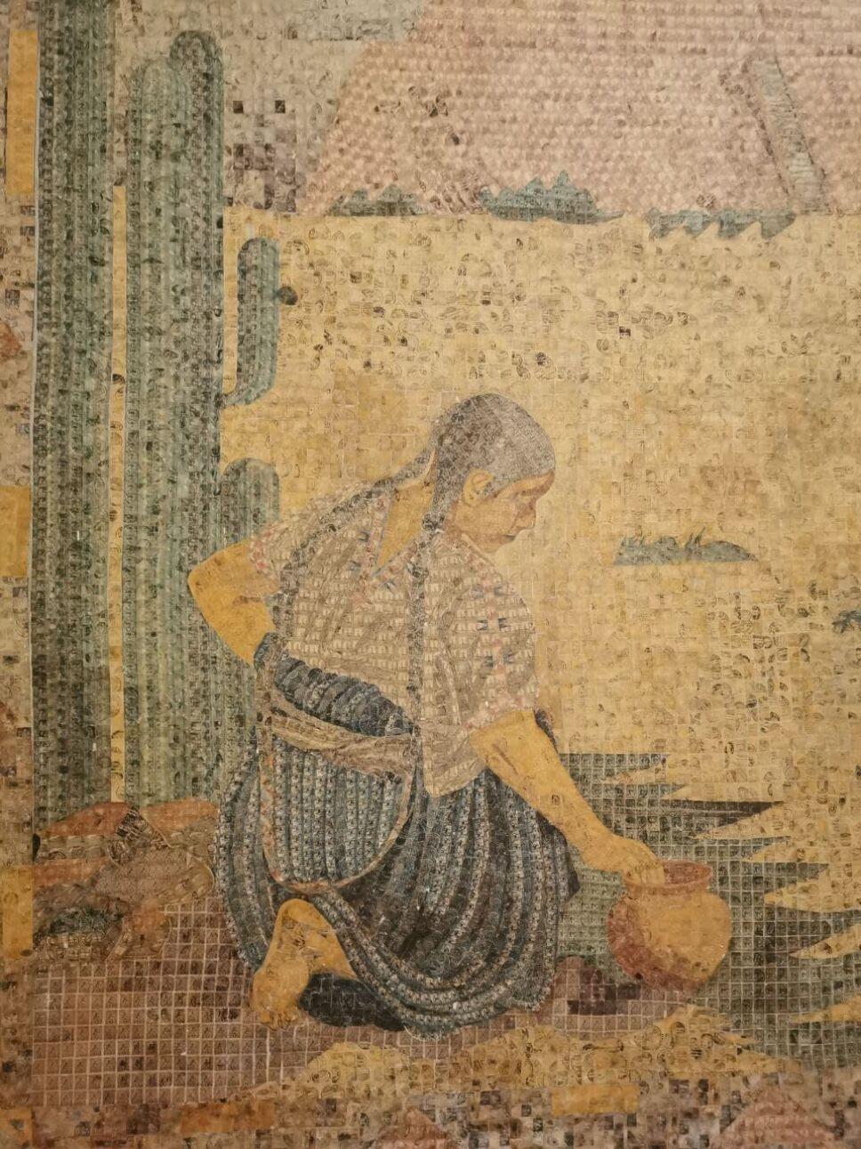 """Vista de cerca del mural """"La Tarasca"""""""