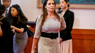 FILE PHOTO: White House press secretary Stephanie Grisham arrives for a news conference of  President Donald Trump and South Korean President Moon Jae-in, at Blue House, in Seoul