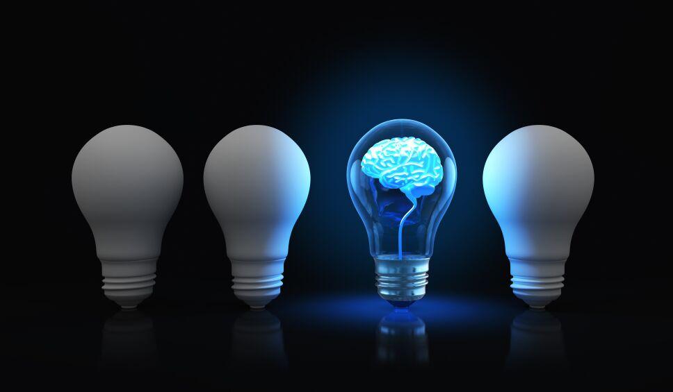 Light bulb with shining brain inside