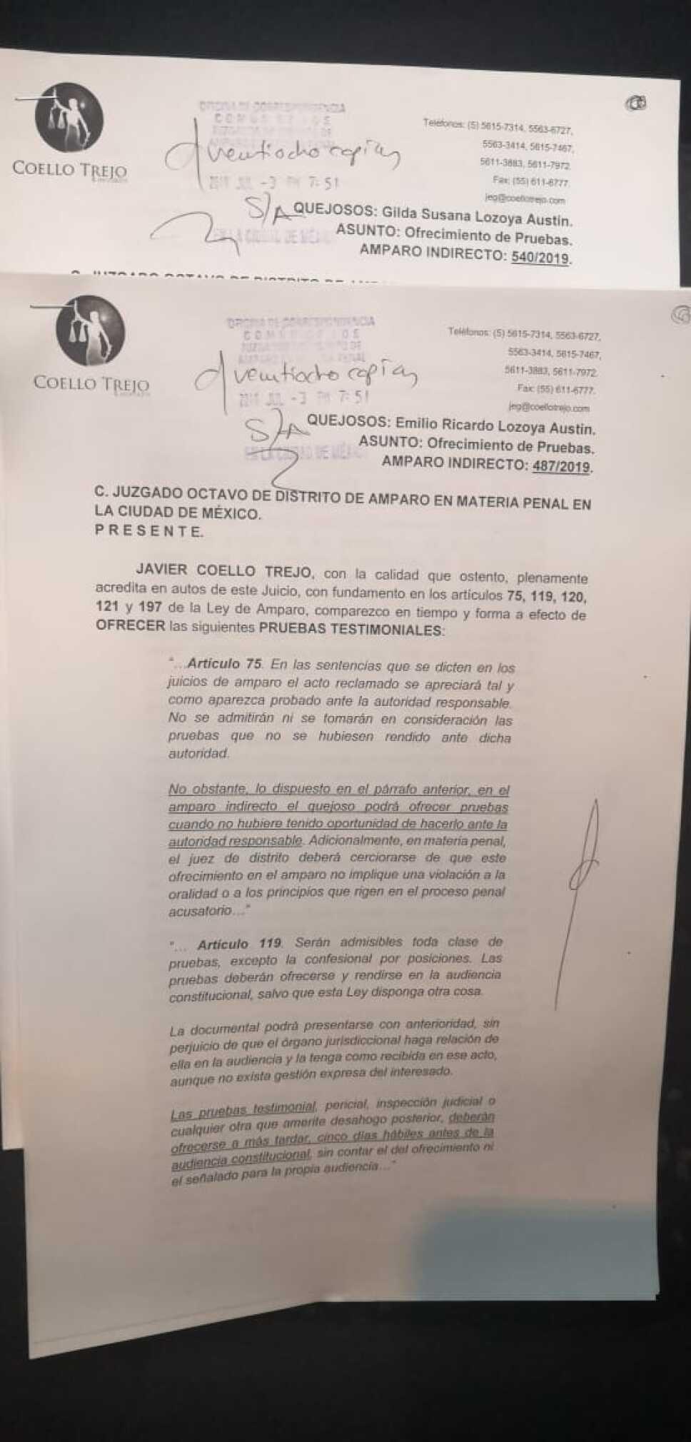 Pide Lozoya la comparecencia de Peña Nieto y otros ex funcionarios