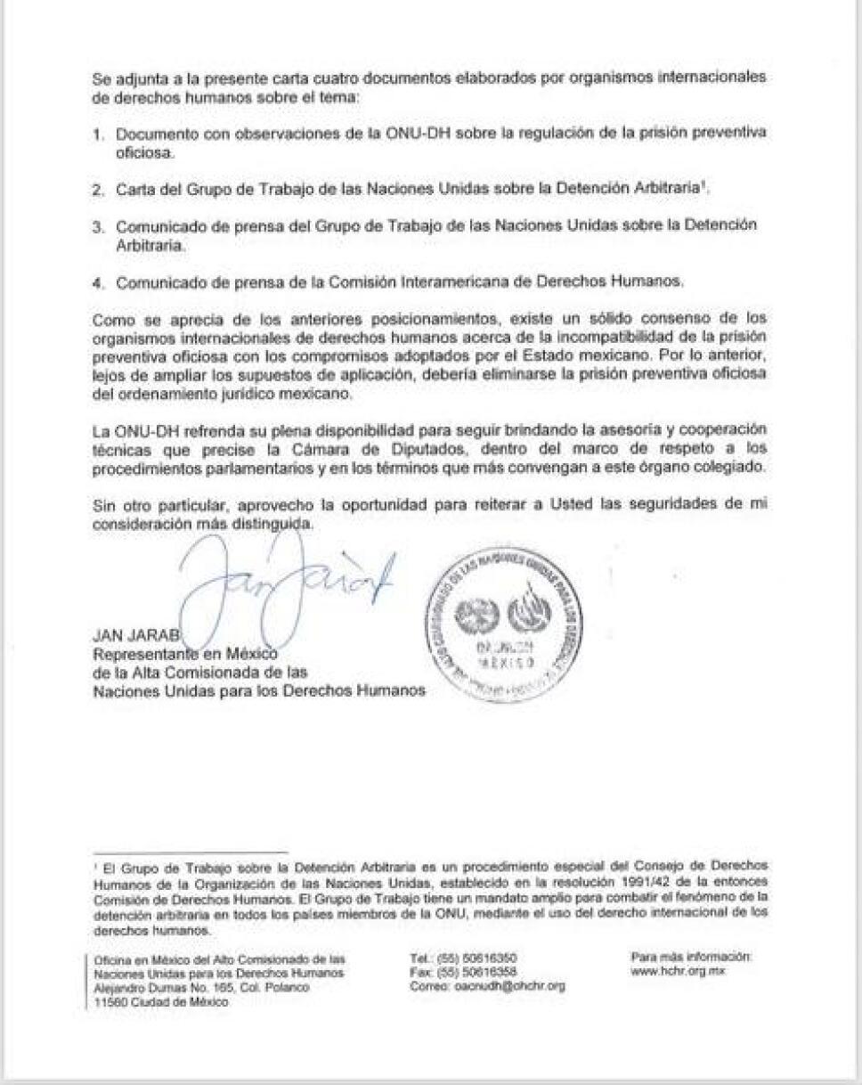 ONU diputados carta 2