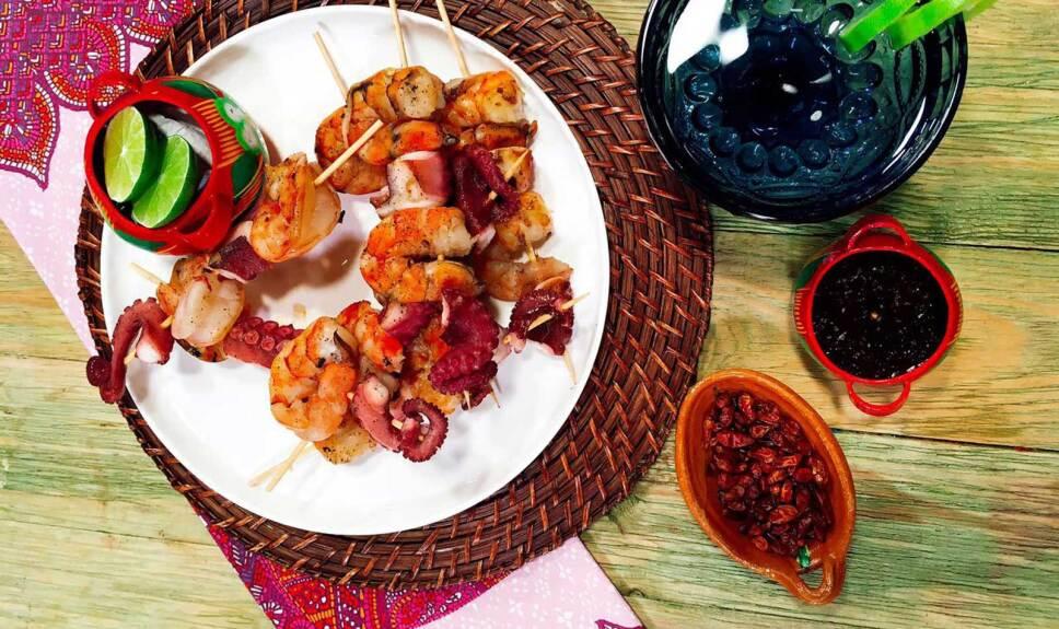 Receta Brochetas de pulpo y camarón