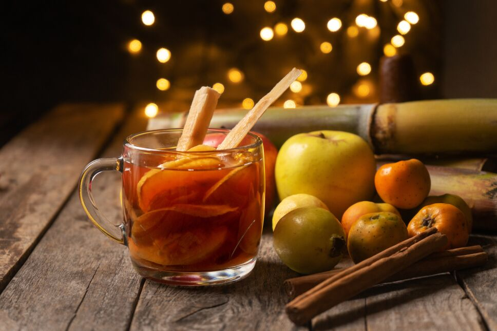 """Mexican hot  christmas punch also called """"ponche"""" with fruits"""