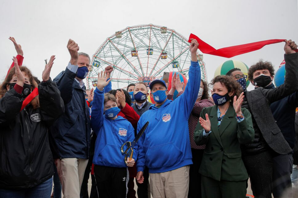 New York City Mayor Bill de Blasio attends the ribbon cutting on the first day of the Coney Island parks reopening in the Coney Island neighborhood of Brooklyn, New York
