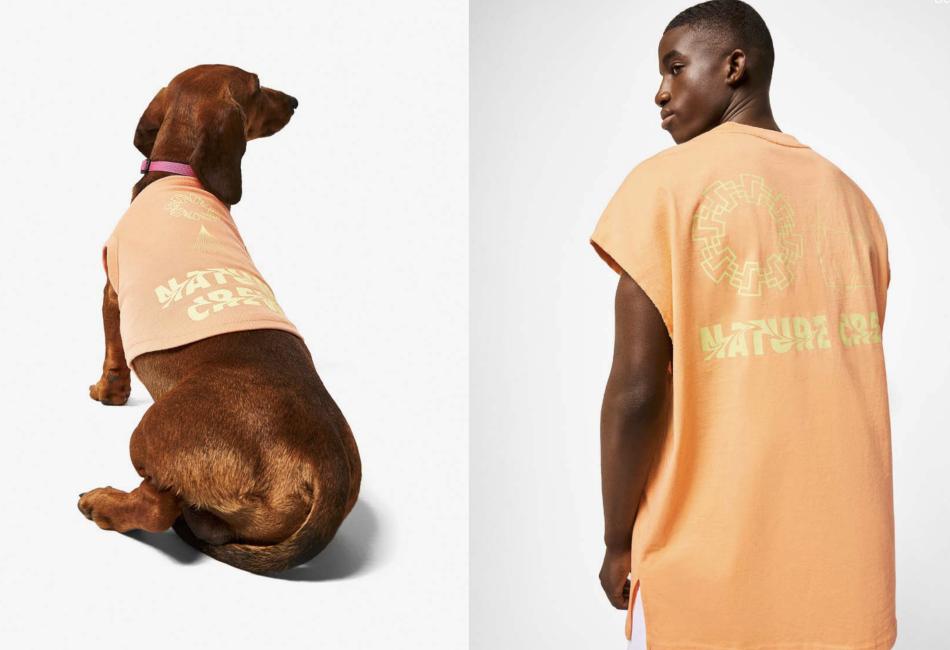 En esta colección hay camisetas y bermudas de color naranja o aguamarina con tops a juego.