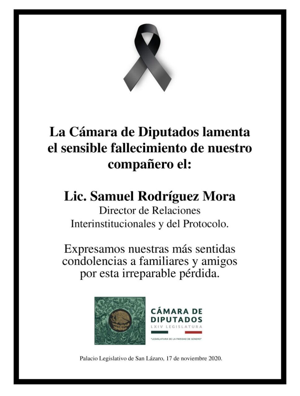 Diputados muere Samuel Rodríguez