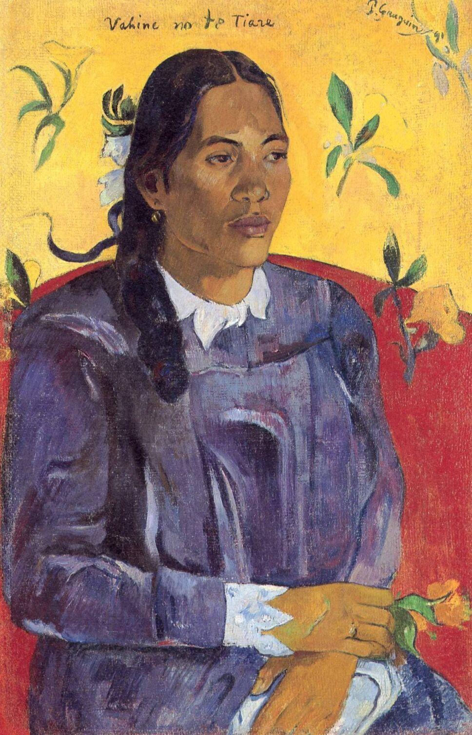 obras de paul gauguin mujer con flor