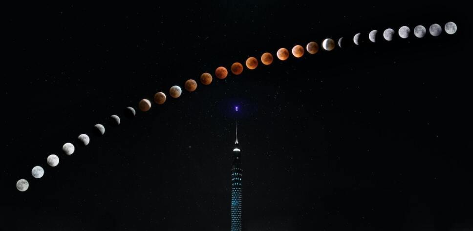 progresion de eclipse lunar sobre antena