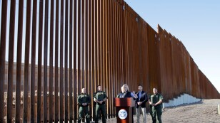 U.S. Department of Homeland Security Secretary Kirstjen Nielsen speaks during a visit to U.S. President Donald Trump's border wall in the El Centro Sector in Calexico, California