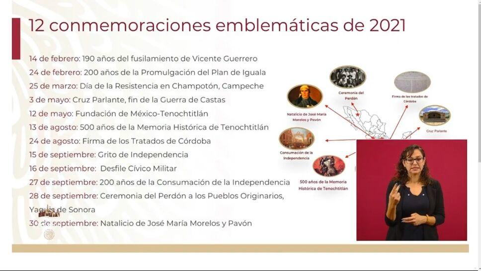 En 2021 habrá 12 conmemoraciones emblemáticas de la historia del país