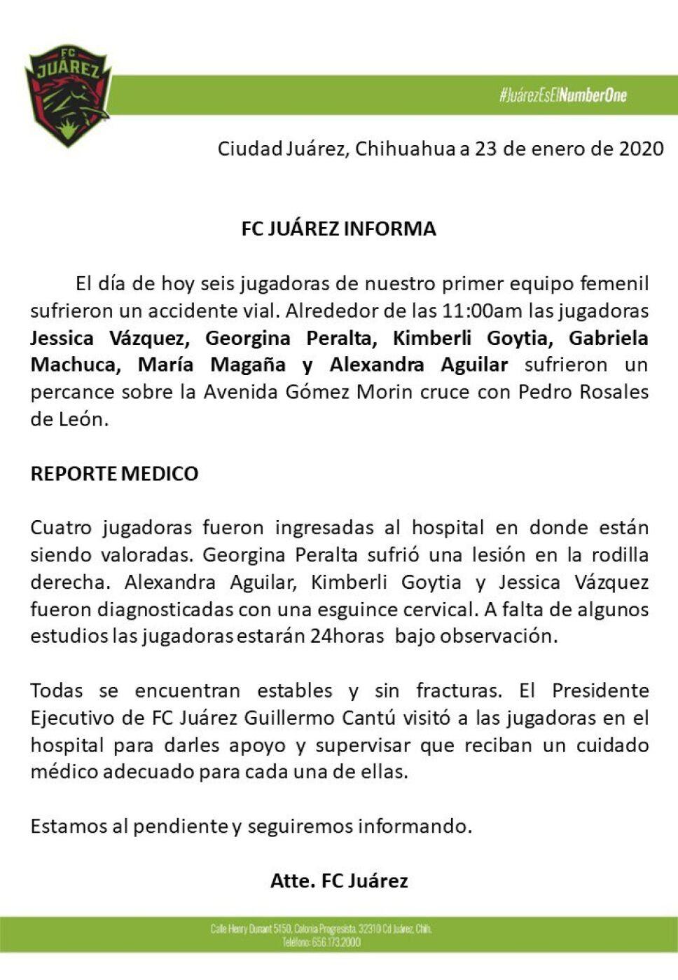 FC Juárez comunicado de accidente vial de seis jugadores del equipo femenil
