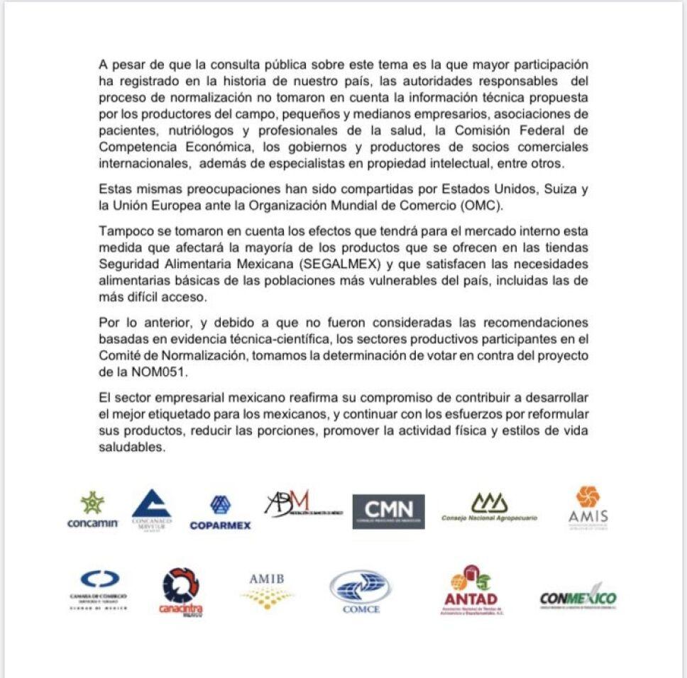 CCE sobre etiquetados en México