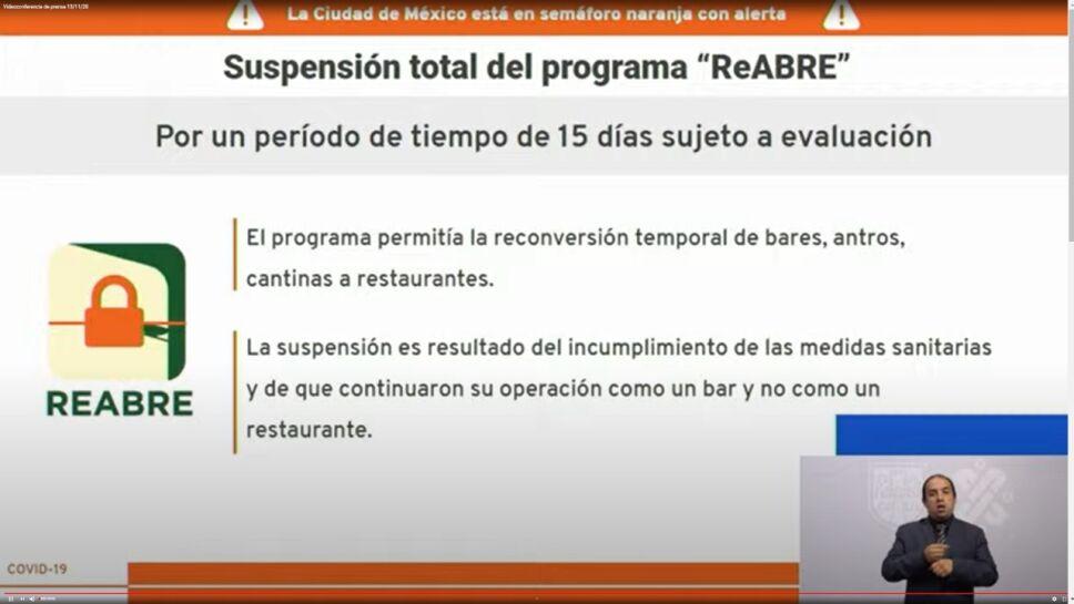 suspensión del programa reabre