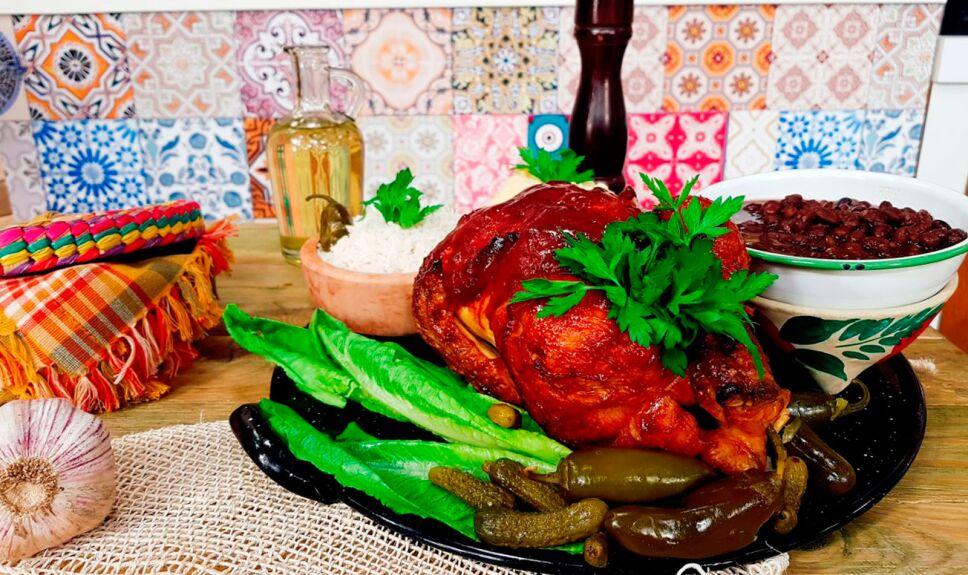 Pollo entero a la BBQ