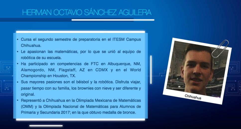 Equipo mexicano del Mundial de Robótica, Hermán Sánchez