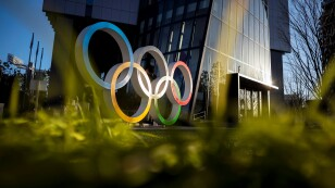 The Olympic rings are displayed in front of the Japan Olympic Museum in Tokyo