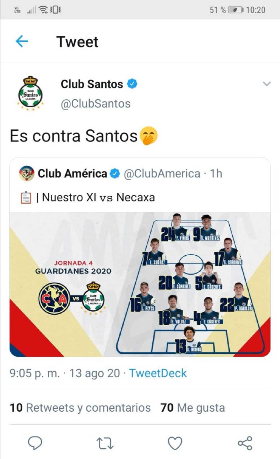 Santos trollea al América