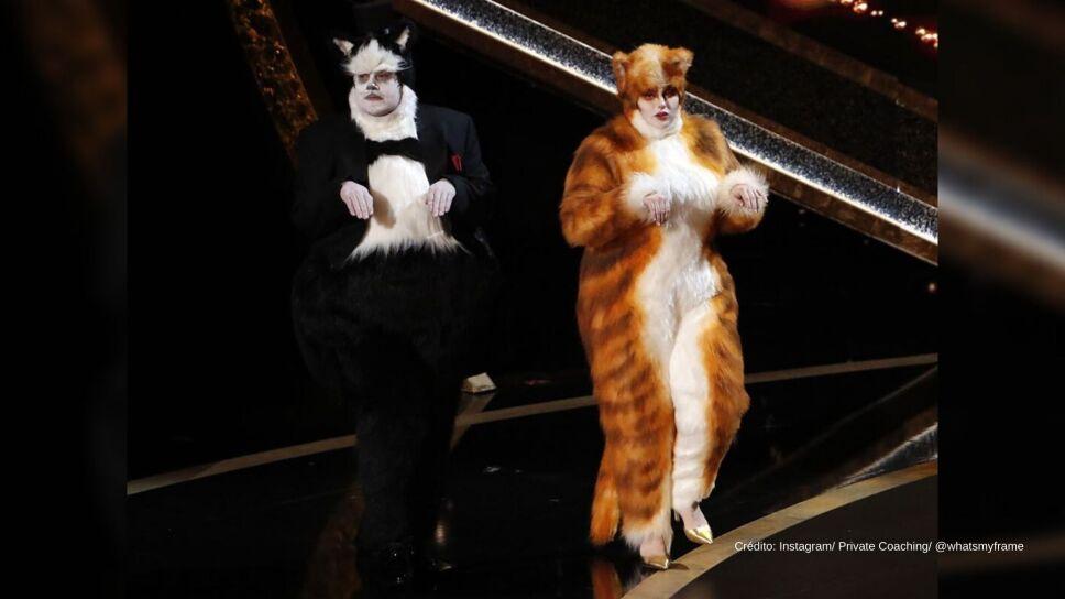 James Corden y Rebel Wilson salen disfrazados de sus personajes de 'Cats' y se burlan del fracaso de la película en los premios Oscar 2020.