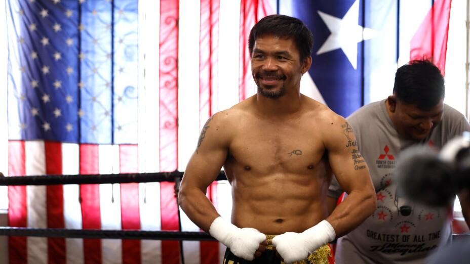 Manny Pacquiao en un entrenamiento