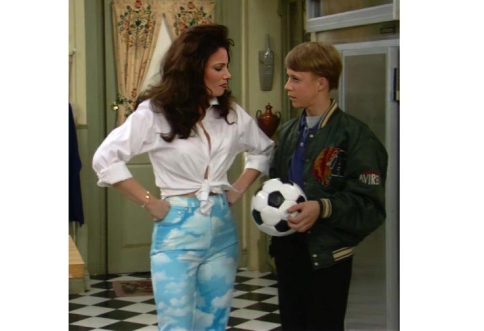 Pantalones de nube de Moschino, una de las marcas favoritas del show.