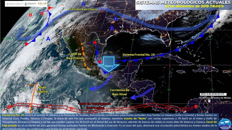 Frente Frío Número 19 provocará lluvias muy fuertes en Oaxaca y fuertes en Puebla, Veracruz, Tabasco y Chiapas