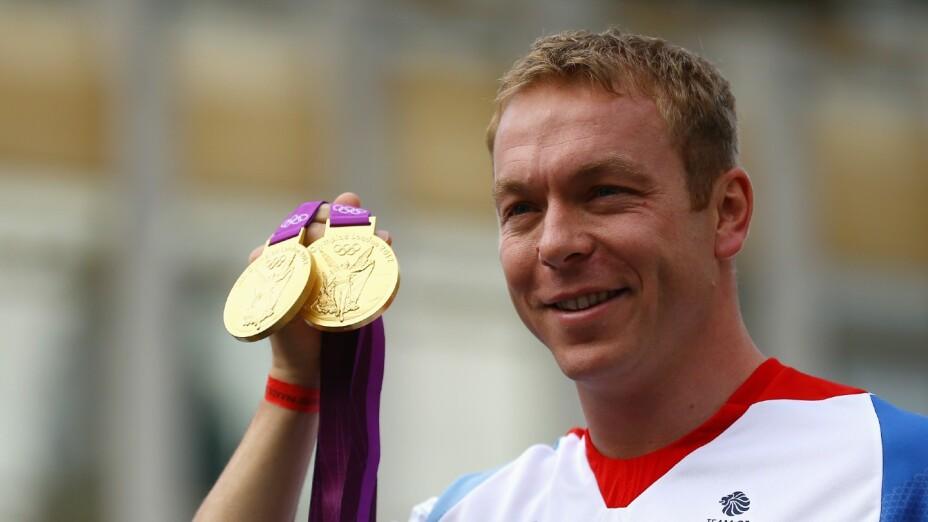 Chris Hoy, con las medallas de Londres 2012