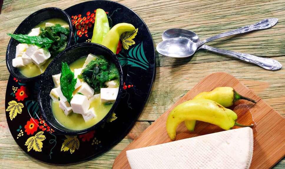 Receta Queso fresco en salsa de epazote Cocineros Mexicanos
