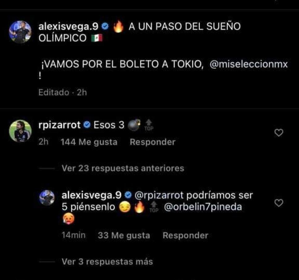 Instagram de Alexis Vega con respuesta de Pizarro y Orbelín